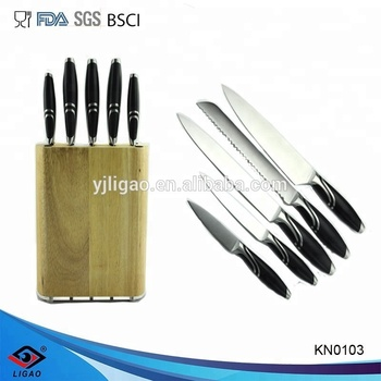 5pcs forged knife set with wooden block / knife set stainless steel