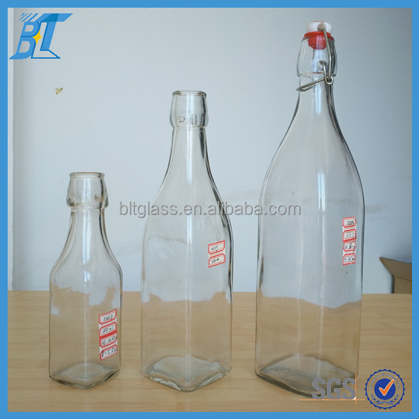 Wholesale Square airtight swing top glass bottle for alcoholic beverages