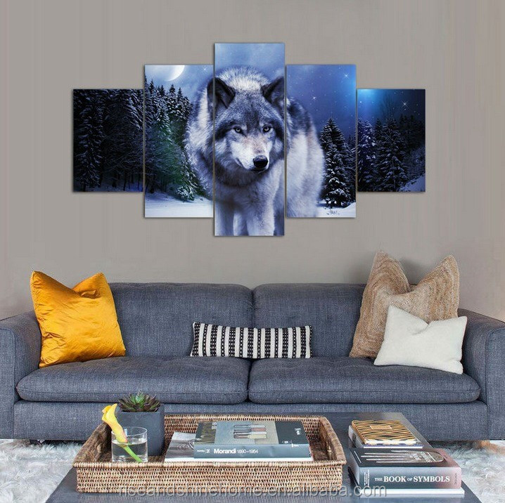 Wholesale modern animal wolf decorative oil painting on canvas 5 pcs/set