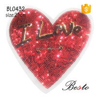 "Decorative"" I love"" printing large red heart sequin patch for girl clothes"