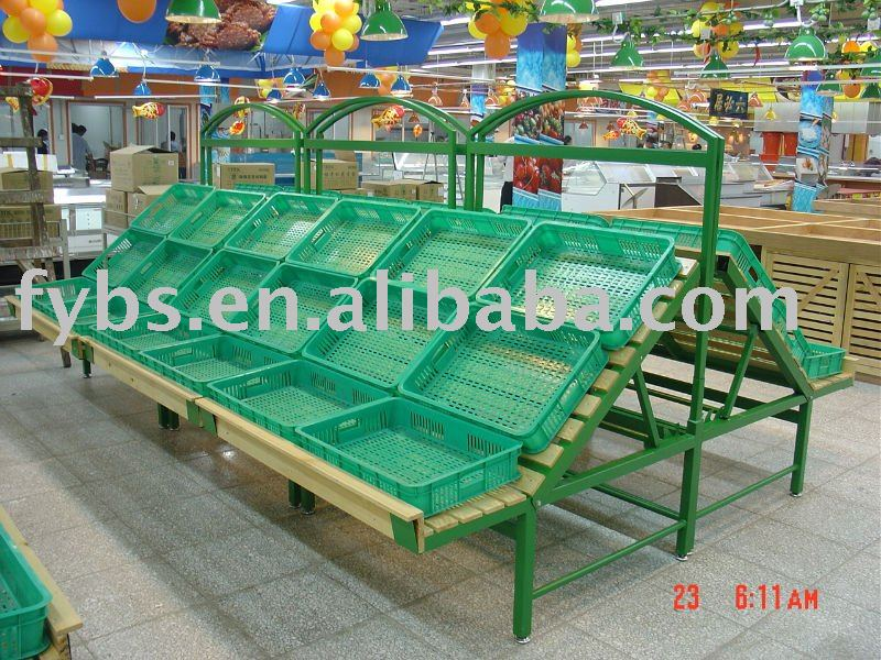 Fruit/Vegetable suppermarket plastic/metal stand Rack