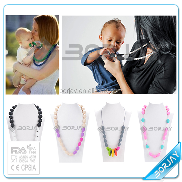 Mother Child Necklace baby teether Silicone doll boy and girl pendant necklace
