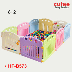 8+2 Bright Color Safe Folding Baby Safety Playpen Adjustable Children Kids Non-toxic Plastic Play Fence Yard