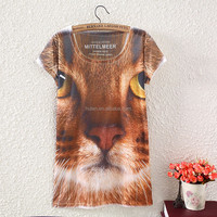 2016 summer latest tiger print girl loose t-shirt