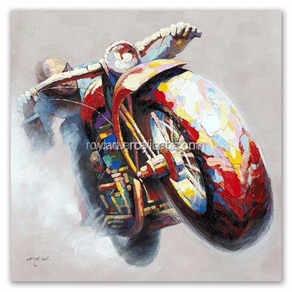 2016 Motorbike Oil Painting On Canvas for sell ROYI Art