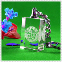Custom Logo Etched Crystal Glass Keyring For Christmas Gifts