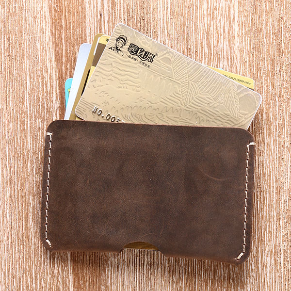 Genuine crazy horse Leather Minimalist's Dream Credit Card Holder ATM cards organizer