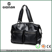 OEM Hot Selling Waterproof Pu Leather Black Duffel Hand Bags Durable Travel Bag For Men