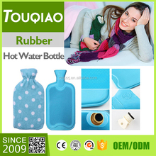 Premium Classic Rubber Hot Water Bottle with Soft Fleece Cover (2 Liters, Blue / Blue Polka Dot)