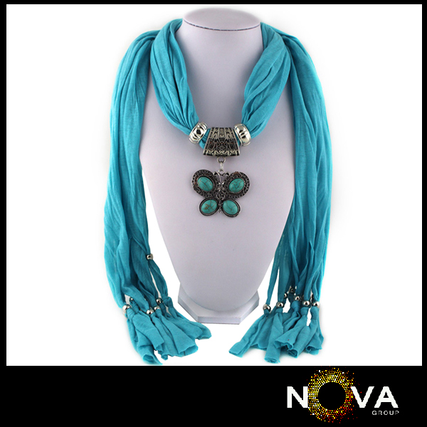 Butterfly jeweled jewel beads pendant scarf necklace
