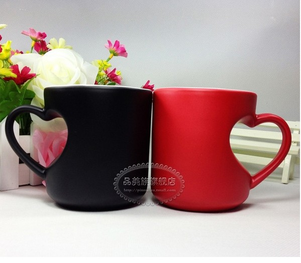 custom printed Creative heart shape ceramic coffee mug,8oz,12oz,16oz,20oz coffee mug
