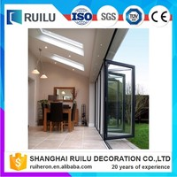 Frameless glass folding door system,folding glass door, side hanging folding door