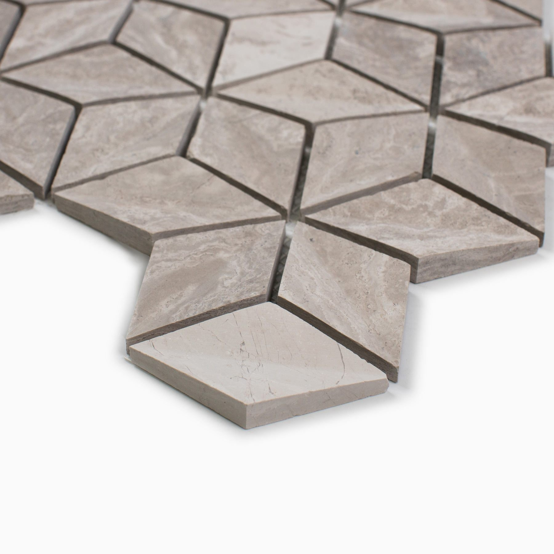 3D Mosaic Wall Tile, White Wooden Marble