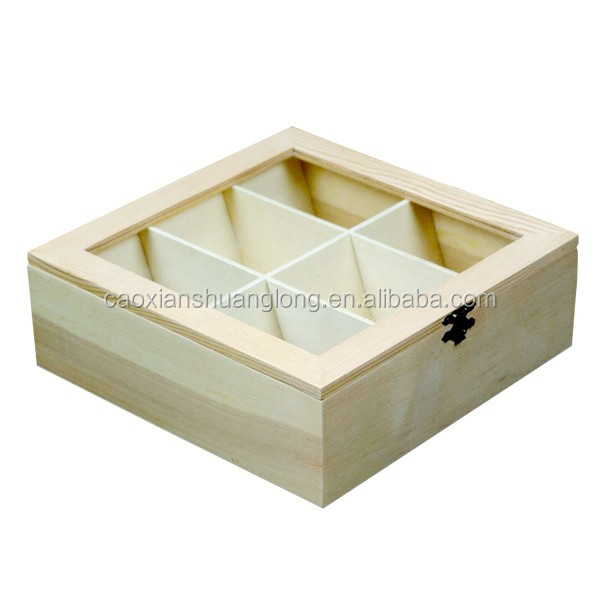 unfinished empty wood gift boxes with dividers