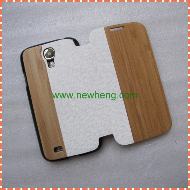 For Samsung S4 Wooden Cover Case,Mobile Phone Shell Wooden + PU Leather Case Cover For Samsung Galaxy S4