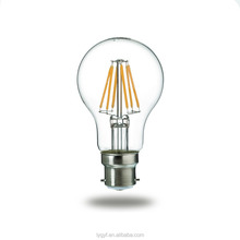 glass led filament light 6W led filament light 220V A60 B22