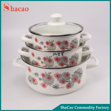 6 pcs flower printing enamel cookware set with decoration