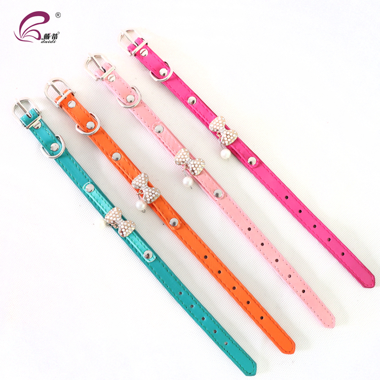 Bling Bowknot Dog Collar Cute Crystal Pet Collar and Leash
