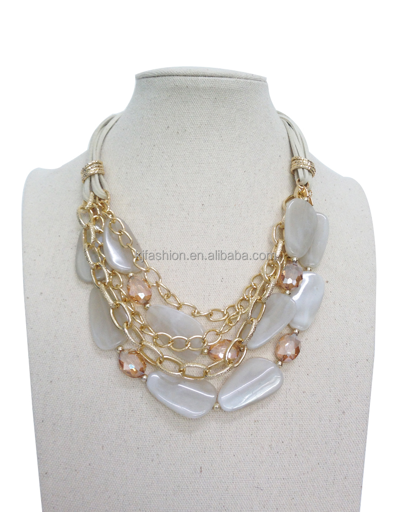 cheap fashion jewelry white stones gold chain necklace