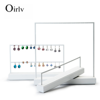 Oirlv Custom Logo New Arrival Drop Earrings Display Holder for Store Kiosk Wholesale White Paint Metal Jewelry Stand