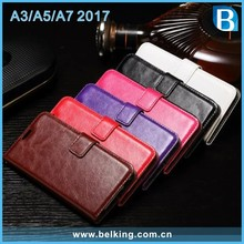 For Samsung Galaxy A3 A5 A7 2017 Magnetic Flip PU Leather Wallet Case with Photo Frame Card Holder Stand Mobile Phone Cover