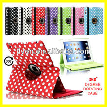 LEATHER 360 DEGREE ROTATING POLKA DOTS CASE STAND FOR APPLE iPAD 5 iPAD AIR 2013