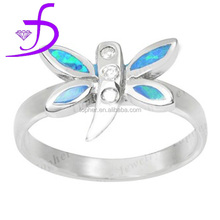 Fashion design blue fire opal dragonfly ring with pave crystal dragonfly ring
