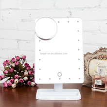 Portable Desktop Touch screen sensing brightness adjustable bathroom 20 LED mirror with light