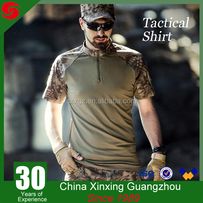 Breathable woodland camouflage military army tactical combat frog shirt