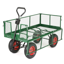 heavy duty mesh metal garden wagon , garden trolley