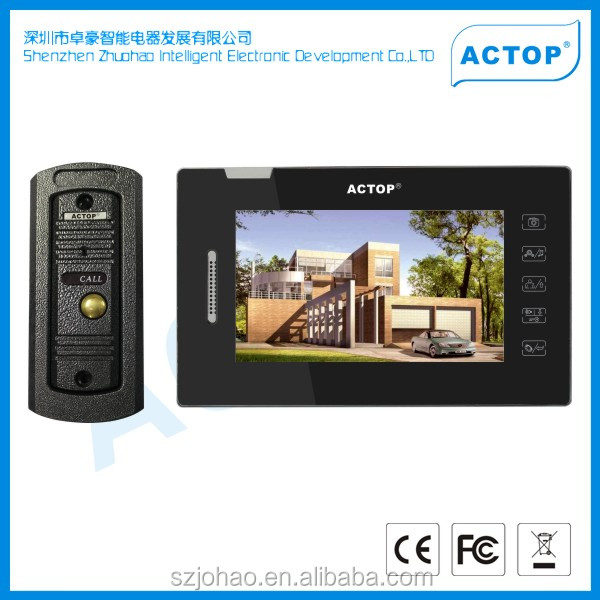 "2014 ACTOP touch keypad alarm rainproof HD 7""TFT-LCD taking photos solar charger video door entry system"