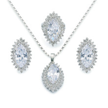 Charming MARQUISE 18K gold Plated Oval Cut Cubic Zircon CZ Earrings Ring Necklace Women's Party Wedding Jewelry set