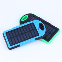 Green battery solar Waterproof Battery Charger Power Bank Dual USB for mobile phones