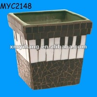 Piano keyboard designed square mosaic planter