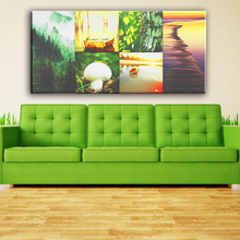 Beautiful decor mountain and seaside natural scenery wall picture 6pcs canvas art painting