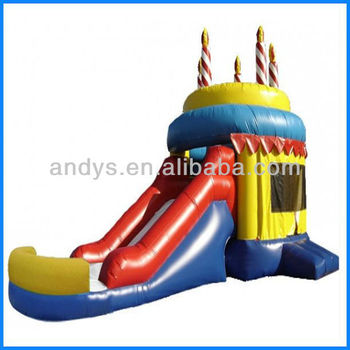 2016 hot sale Inflatable cake castle with slide combo