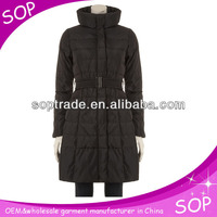 Cheap high-collar warm slim long down coat with beilt for ladies wholesale