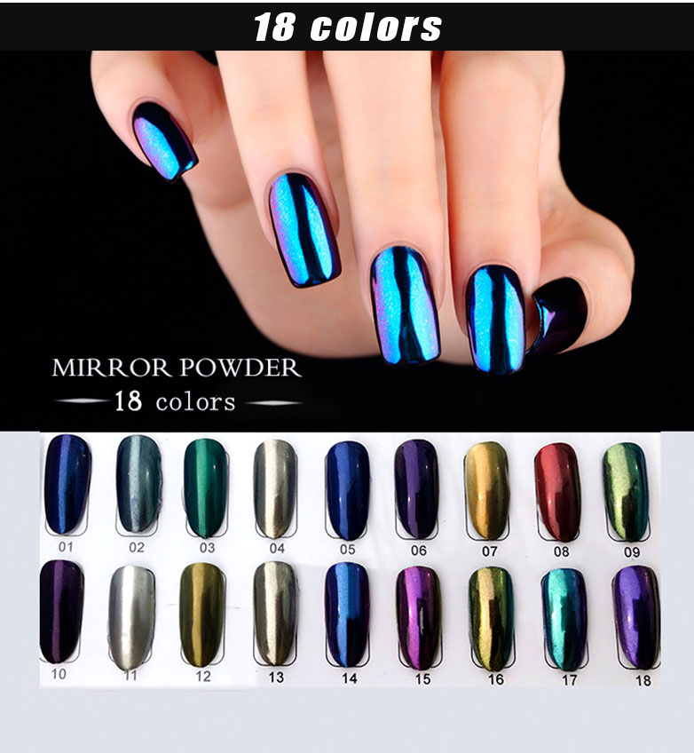 2018 RONIKI High Gloss 18 Colors Mirror Effect Pigment Acrylic Nail Mirror Powder