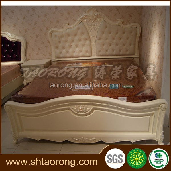 New classical italian style white royal king size bed