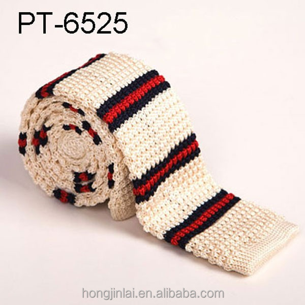 Hot sale beige stripes custom microfiber knitted tie pt6525