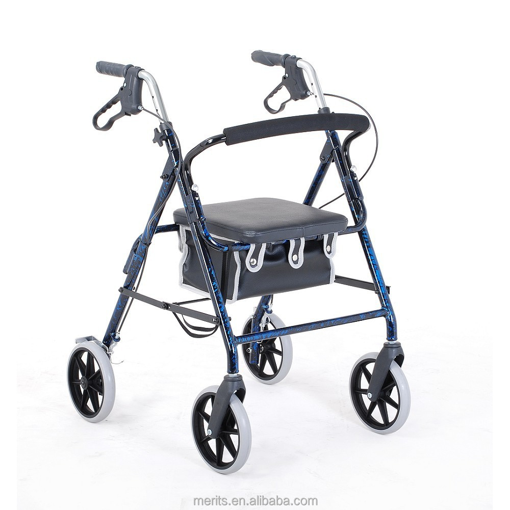 W463 4 wheel aluminum elderly rollator walker