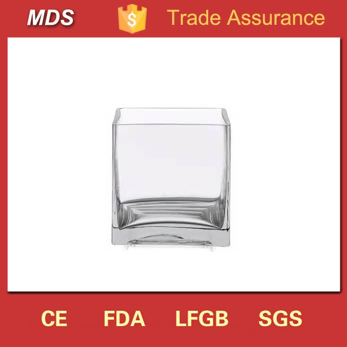 Wholesale 6inch clear cube square glass vase for sale