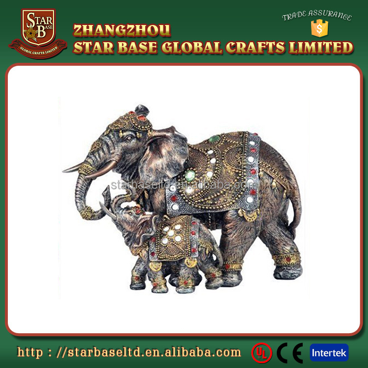 OEM new arrival good quality lifelike luxuriant resin indian elephant figurines
