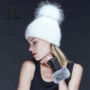 Custom women cuff ribbed beanie winter warm 100% cashmere hat with real fur pom poms