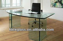 Ultra clear glass/Tempered glass /Thoughened glass office desk /table with AN/NZS 2208: 1996, BS, EN12150