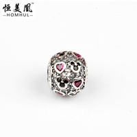 925 Sterling Silver Mickey Mouse Charms pink Heart Ball Silver Beads with Enamel charms for bracelet making DIY