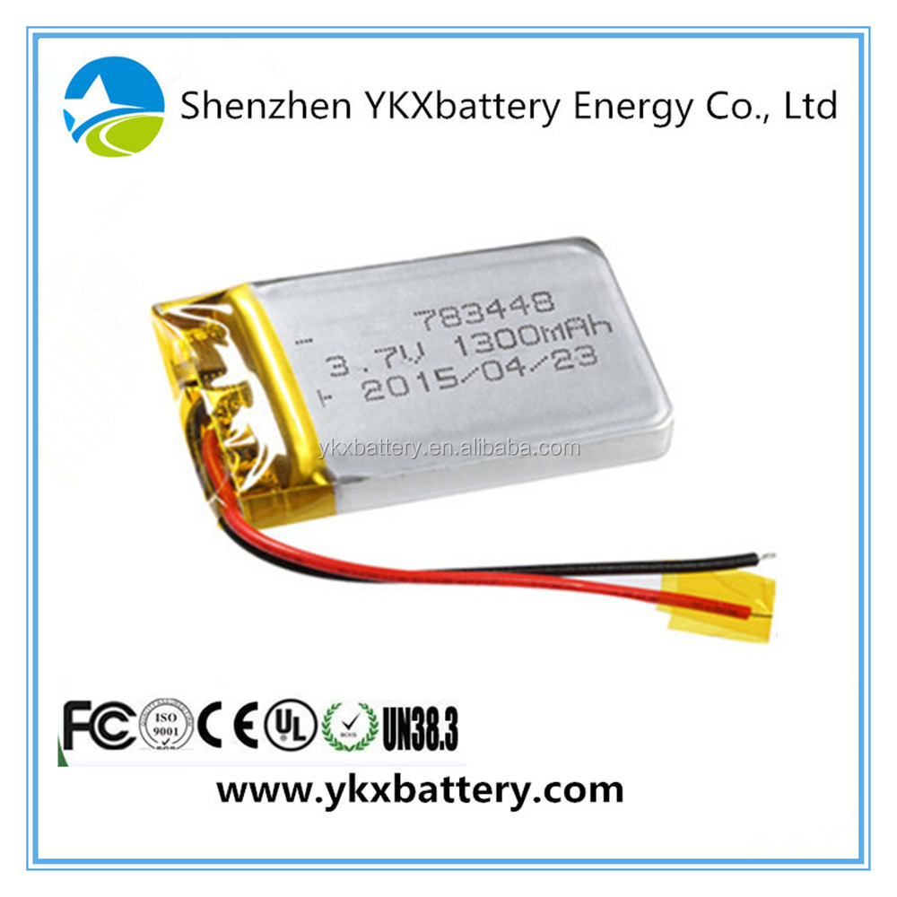 Lithium ion battery manufacturers 783448 1300mah 3.7v 4.81Wh rechargeable li-ion lithium-ion li polymer li-polymer lipo Battery