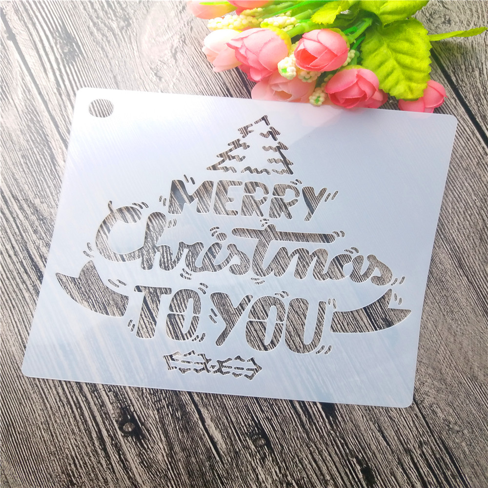 environmental pp custom color DIY types of drawing stencil set for Christmas gift