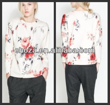 C22219A LATEST WOMEN FLOWER PRINTED SWEATERS