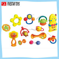 Cheap 12pcs set infant rattle set toy baby hand bell toy